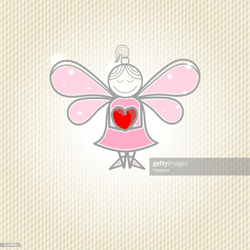 Little fairy with heart in hands