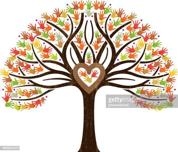 little fall family heart tree illustration - family tree stock illustrations, clip art, cartoons, & icons