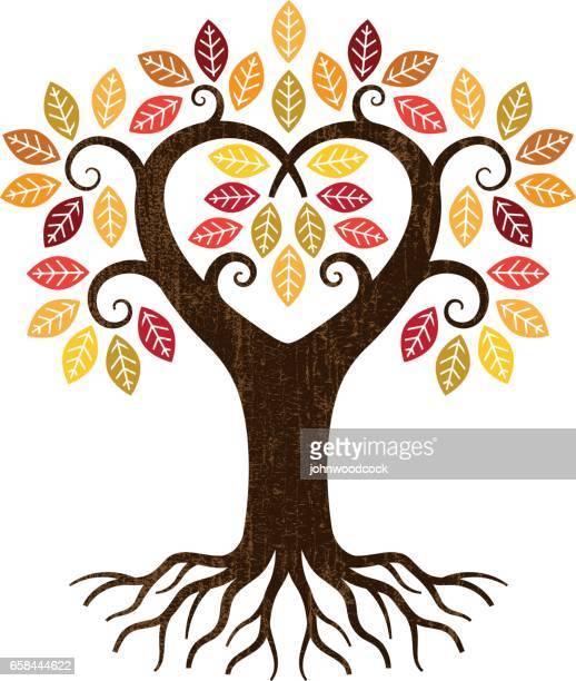 little fall heart tree illustration - family tree stock illustrations, clip art, cartoons, & icons