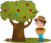Little farmer boy at the farm with apple basket, and apple tree.