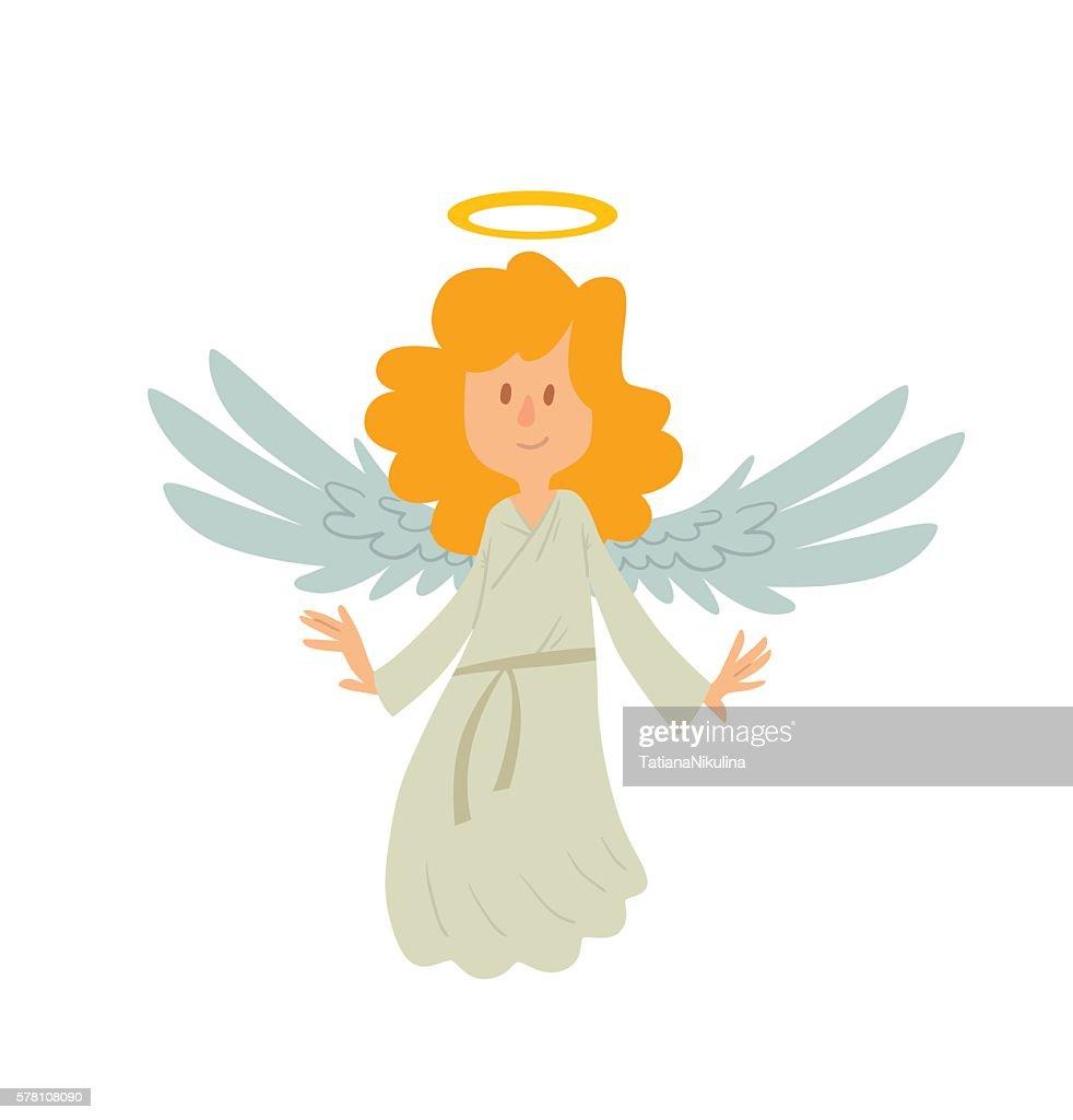 Little female angel is smiling