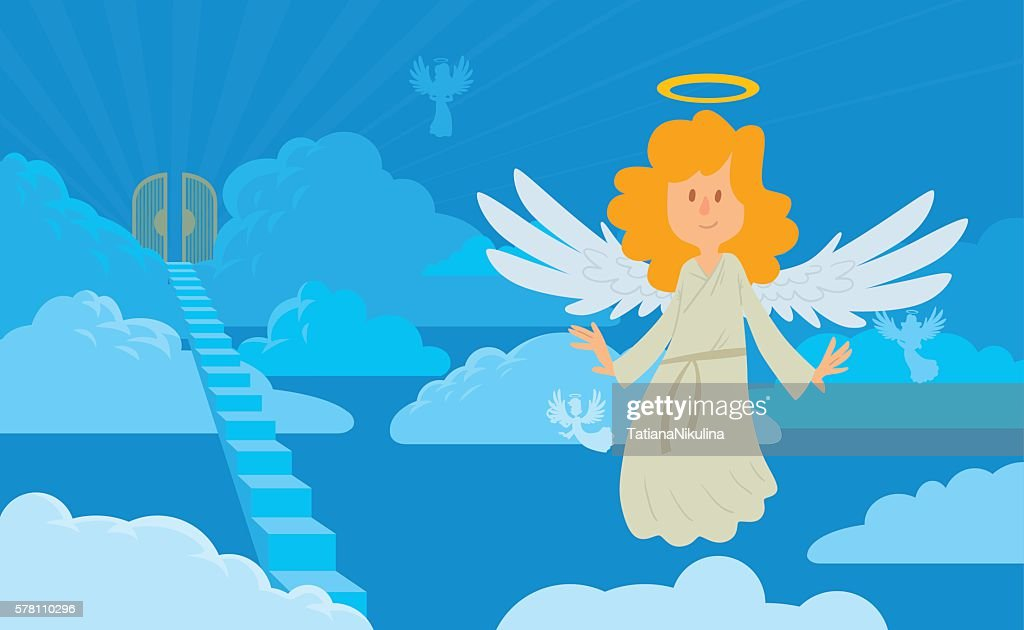 Little female angel with blond hair on a heaven background