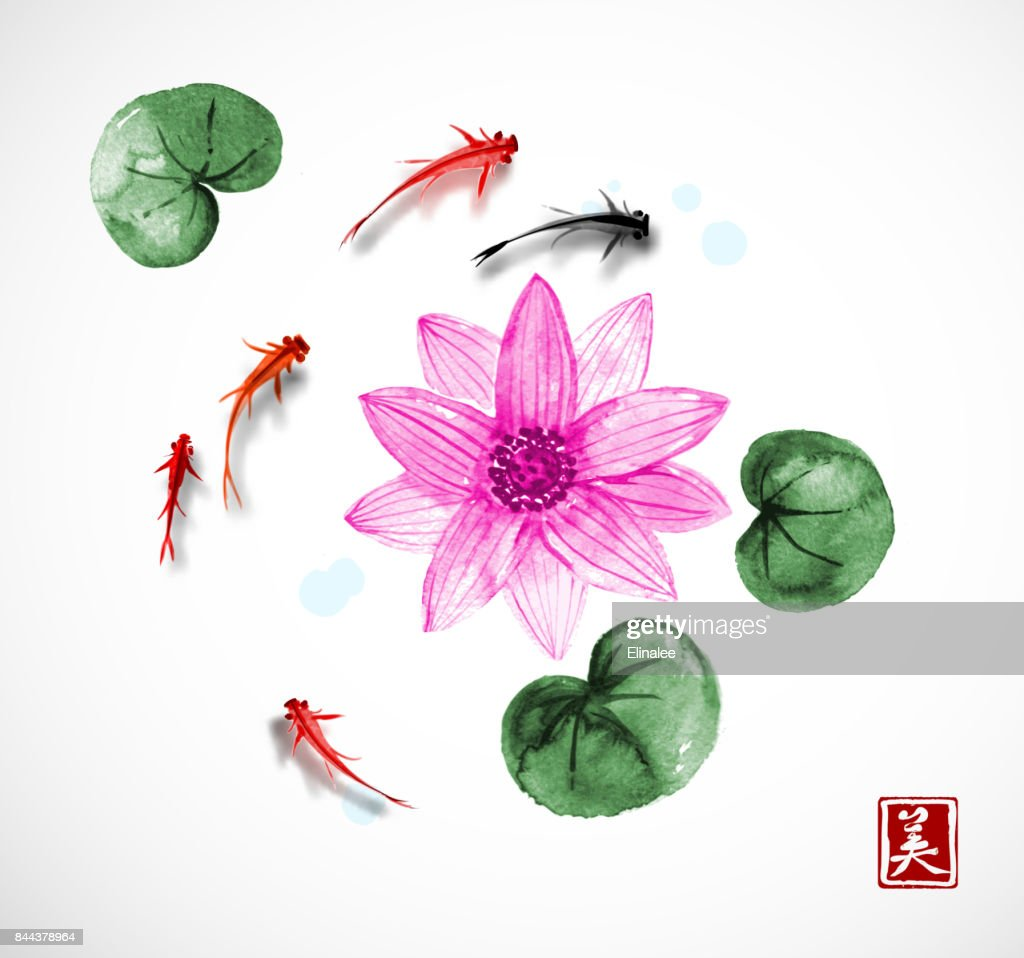 Little Fishes And Big Pink Lotus Flower Hand Drawn With Ink On White