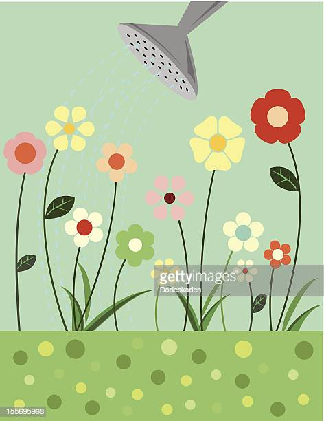 little flowers will grow - watering can stock illustrations