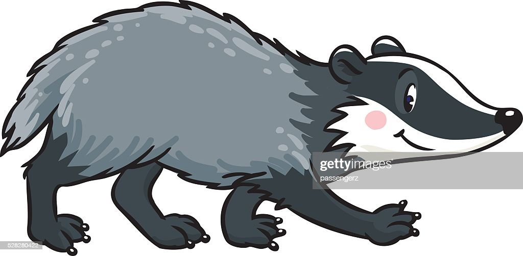Little funny badger. Children vector illustration