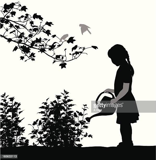 little gardener vector silhouette - watering can stock illustrations, clip art, cartoons, & icons