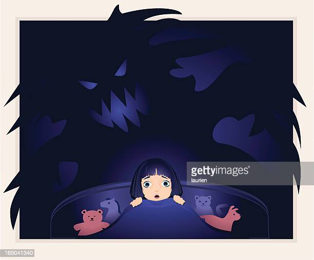 little girl afraid of monsters in the dark. - phobia stock illustrations, clip art, cartoons, & icons