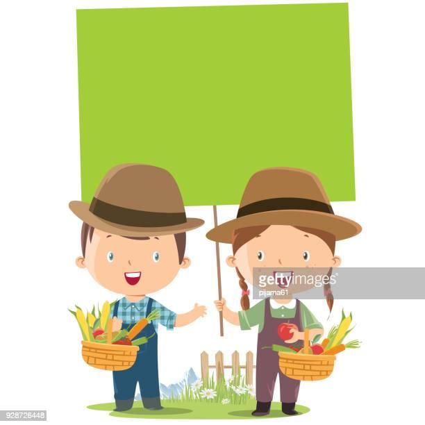 ilustrações, clipart, desenhos animados e ícones de pequeno agricultor de menina e menino com bandeira - produto local