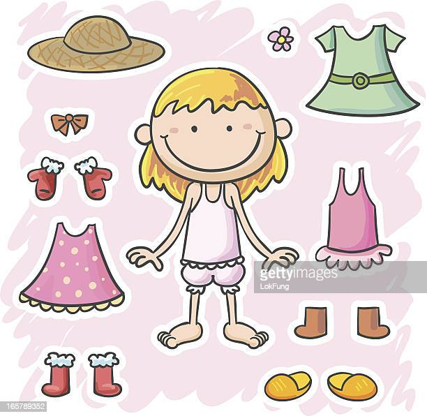 little girl and her clothes - underwear stock illustrations, clip art, cartoons, & icons