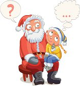 Little girl and Santa Claus