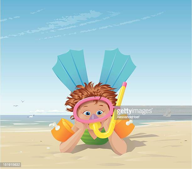 little girl at the beach with flippers and snorkel - arm band stock illustrations