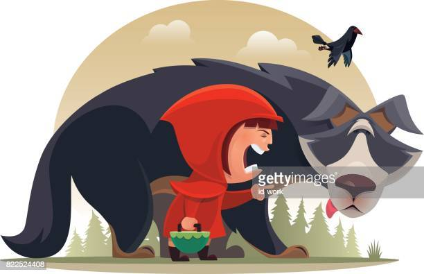 little girl blaming and pointing wolf - little red riding hood stock illustrations, clip art, cartoons, & icons