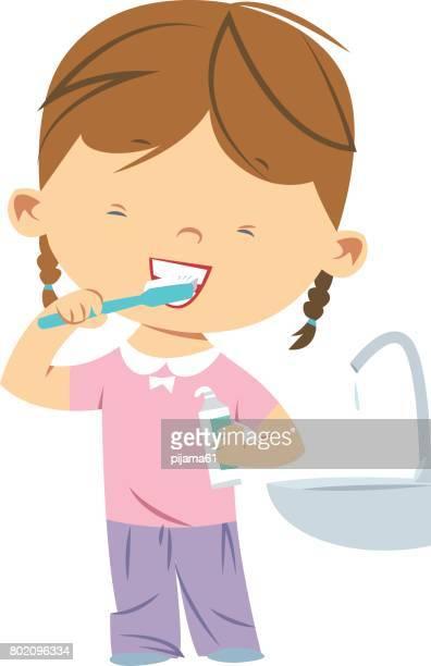 Meisje tandenpoetsen