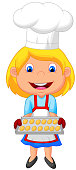 Little girl cartoon baking