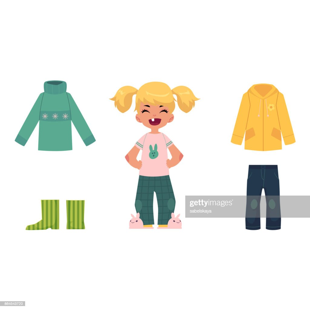 Little girl, child, kid and her autumn clothes