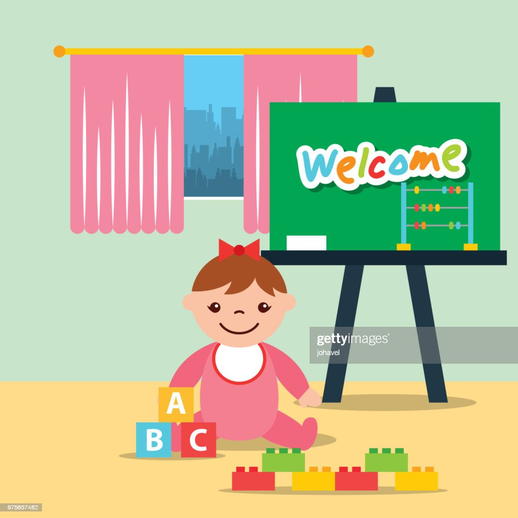 little girl classroom kinder chalkboard and blocks alphabet
