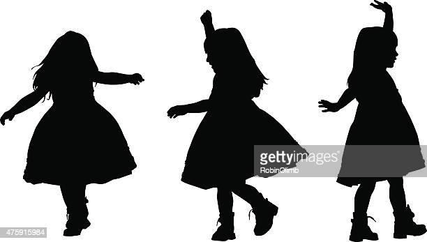 illustrations, cliparts, dessins animés et icônes de petite fille danser - petites filles