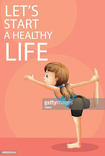 little girl doing yoga stretching with one of her legs - gymnastics stock illustrations