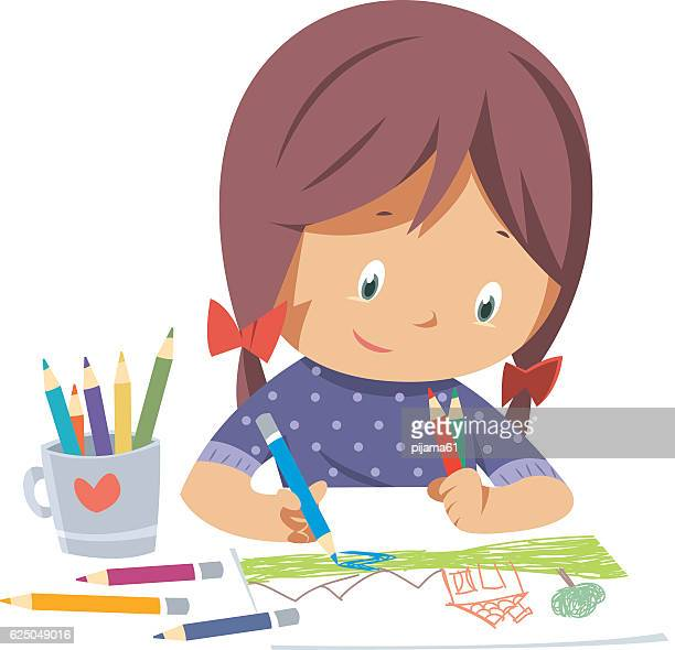 little girl drawing - girls stock illustrations