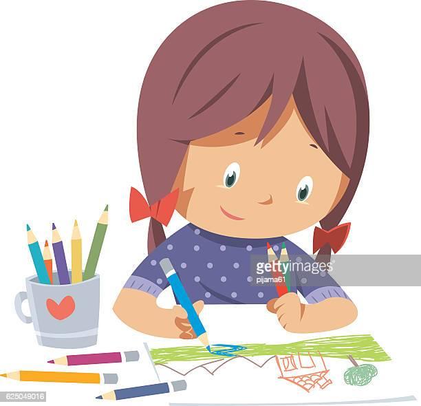 illustrations, cliparts, dessins animés et icônes de petite fille dessin  - peindre