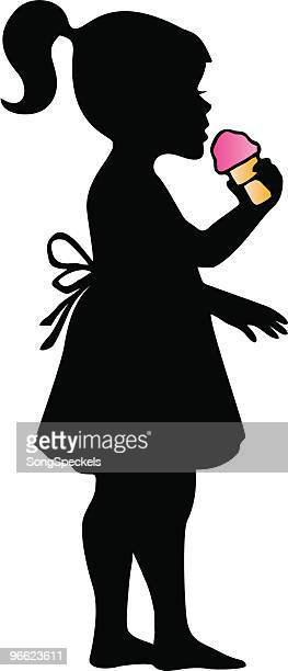 Little Girl Eating Ice Cream Cone silhouette