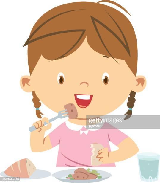 little girl eating meal - breakfast cartoon stock illustrations