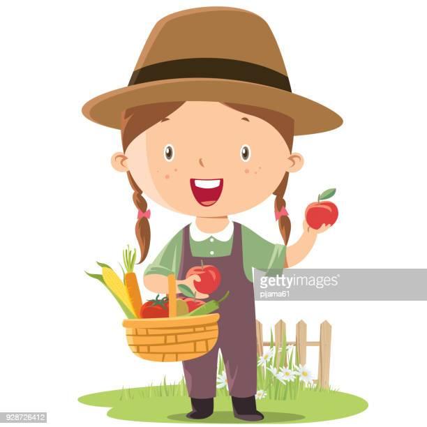 little girl farmer