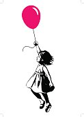 Little girl floating with a red balloon, street art graffiti style