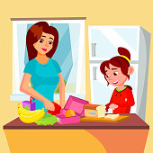 Little Girl Helping Mother In The Kitchen Vector. Lunch Box. Isolated Illustration