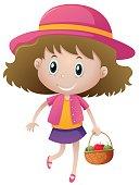 Little girl holding basket of fruits