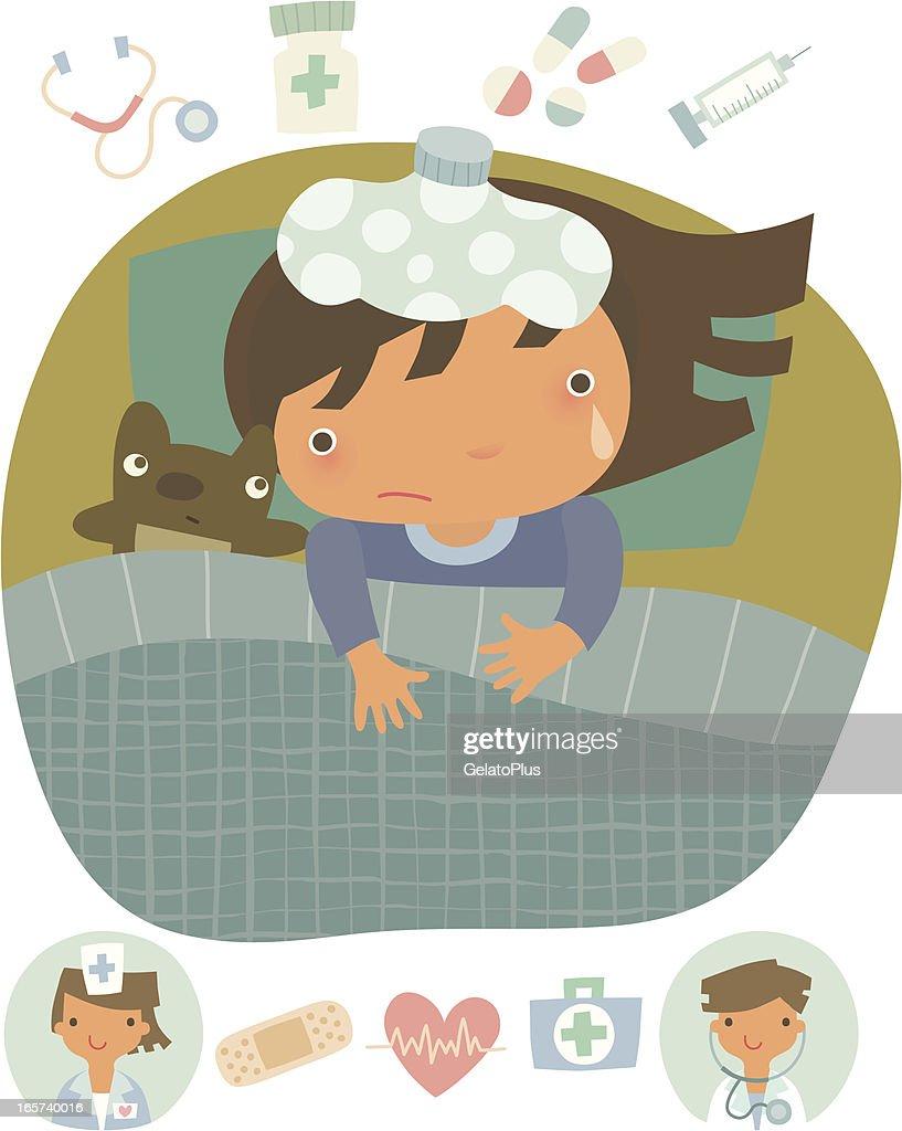 Little girl in bed : stock illustration