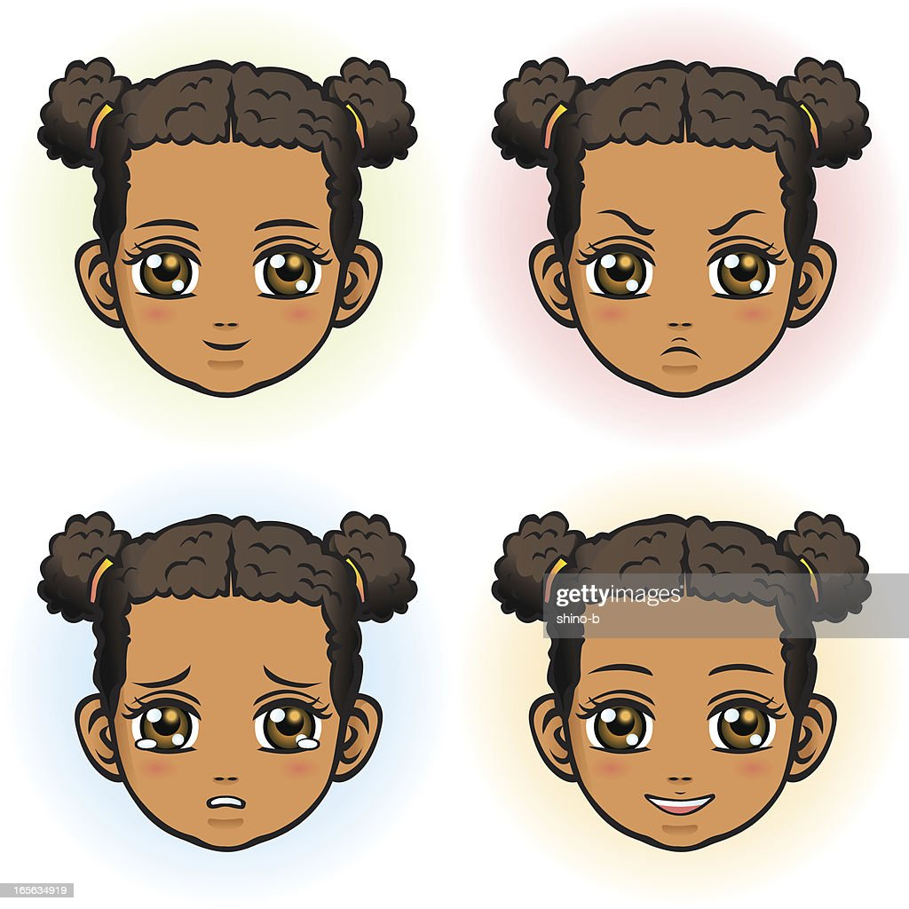 Little Girl in four facial expression (African Descent)