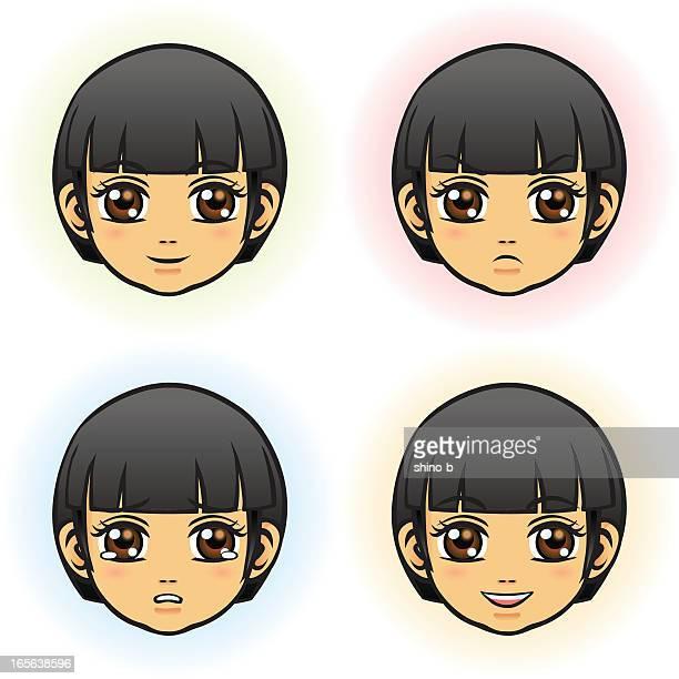 Petite fille en quatre visage expressif (asiatique):