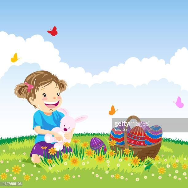 little girl in nature at easter - easter egg hunt stock illustrations, clip art, cartoons, & icons