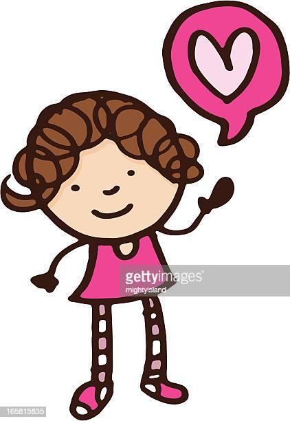 ilustrações, clipart, desenhos animados e ícones de menina em rosa com coração em forma de balão - cartoon characters with curly hair