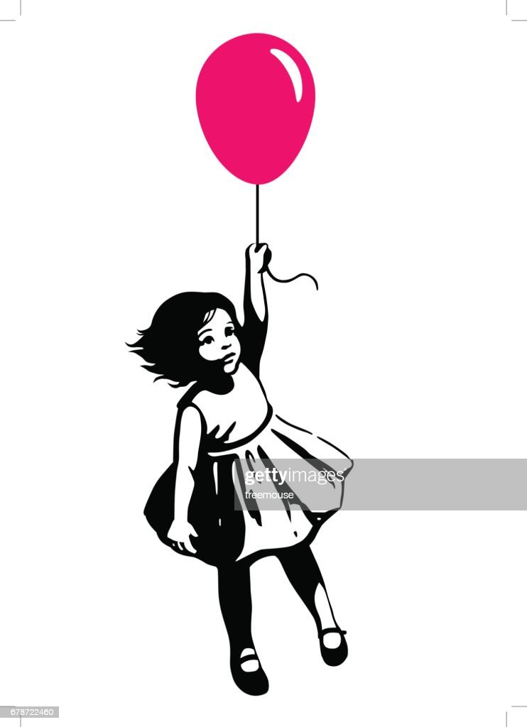 Little girl in summer dress floating on red balloon street art graffiti style