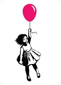 Little girl in summer dress floating on red balloon street art graffiti style
