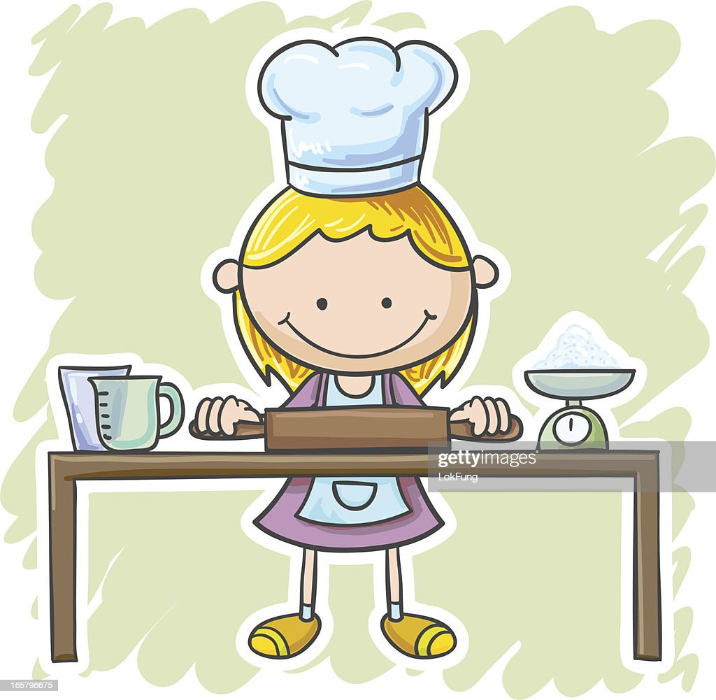 Little girl is going to cook : stock illustration