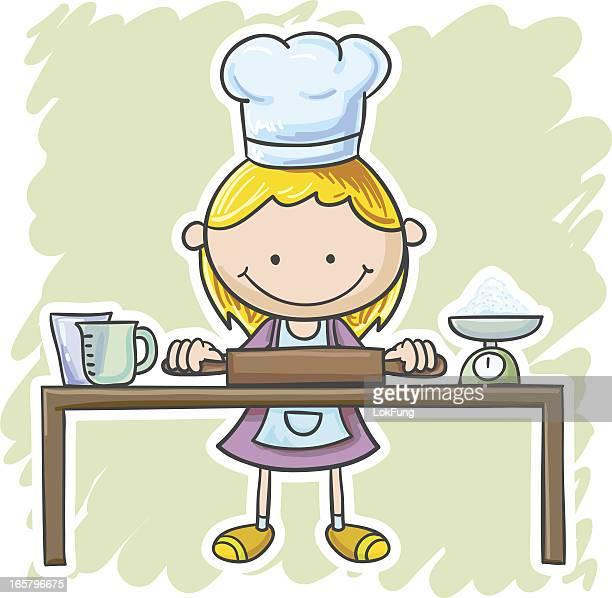 Kleines Mädchen geht zum Kochen