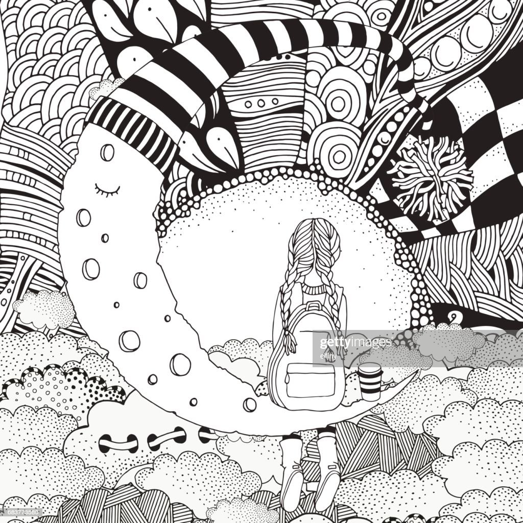 Little Girl is sitting on the Moon. Black and white. Coloring Book page for adult and children.