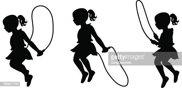 little girl jumping rope - jump rope stock illustrations, clip art, cartoons, & icons