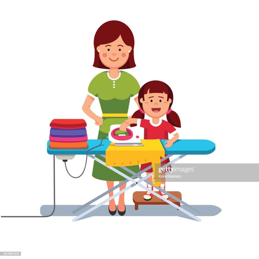 petit enfant fille aider sa m232re repasser le linge clipart