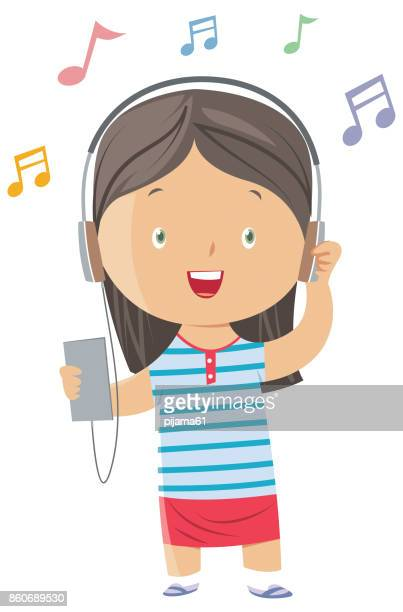 ilustraciones, imágenes clip art, dibujos animados e iconos de stock de niña escuchar música - mujer escuchando musica