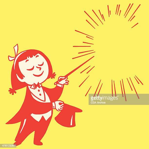 little girl magician - magician stock illustrations, clip art, cartoons, & icons