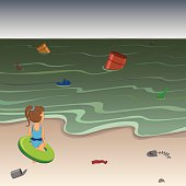 Little girl on the beach of a polluted sea