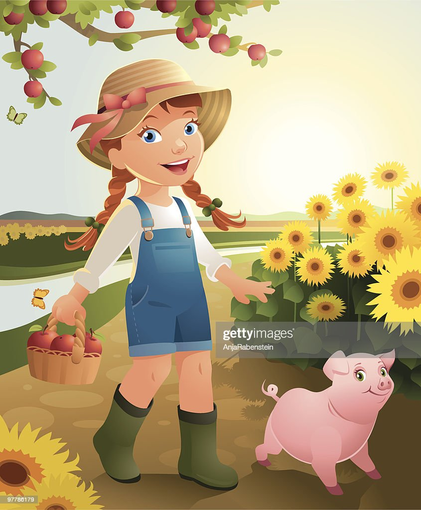 Little Girl on the farm : stock illustration
