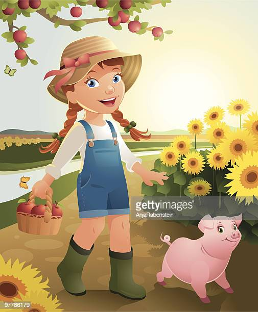little girl on the farm - one girl only stock illustrations, clip art, cartoons, & icons