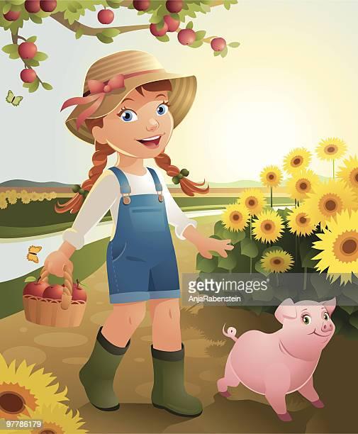 little girl on the farm - braided hair stock illustrations, clip art, cartoons, & icons