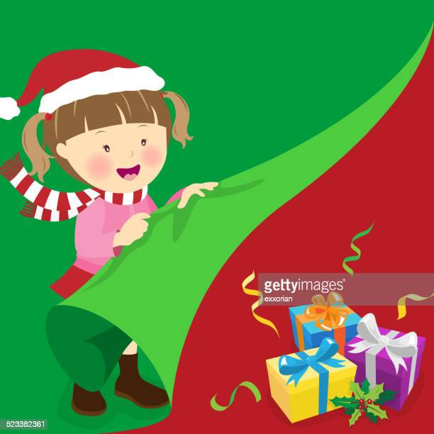 Little Girl Open the Gift at Boxing Day
