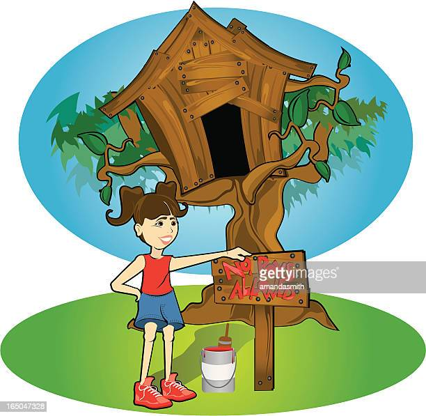 little girl painting no boys allowed sign on treehouse - country club stock illustrations, clip art, cartoons, & icons